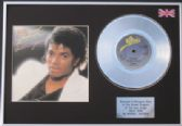 "MICHAEL JACKSON - 7"" Platinum Disc+cover- BILLY JEAN"